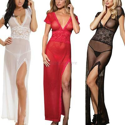 Women Lingerie Nightwear Deep V-neck Long Dress Underwear G-string Nightwear