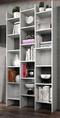 Naples Bookcase White Soft Gloss Triple Bookshelf Lounge Furniture Shelving 2601