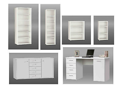 Tempra White Office Furniture, Bookcase, Shelving Unit, Sideboard, Study Desk
