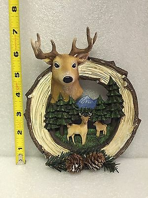 Deer Wall Decor - Pinecones, Pine Trees, Mountains - Lodge, Log Cabin Decor 3-D