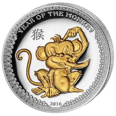 Palau 2016 5$ Year of the Monkey 1 Oz Silver Proof Coin Gilded High Relief