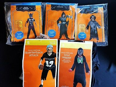 Lot Of 5 Kids Halloween Costumes Quarterback Reaper Skullzor Skeleton Small 4-6
