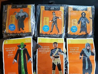 Lot Of 6 Kids Halloween Costumes Witch Death Skeleton Barbarian Alien Small 4-6