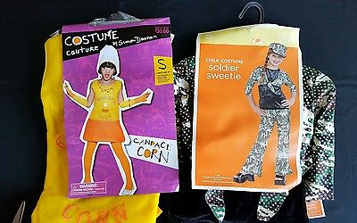 Lot Of 2 Kids Girl Boy Halloween Costumes Soldier Sweetie Candace Corn Small 4-6