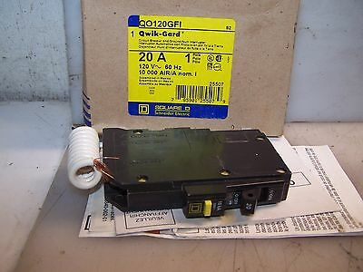 New Square D 20 Amp 1 Pole Gfi Circuit Breaker 120 Vac Qo120Gfi