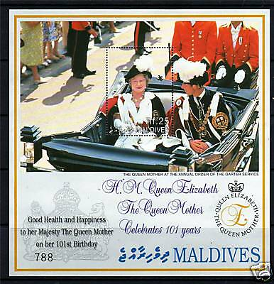 Maldive Is 2001  Queen Mother 101st Birthday MS SG 3128 MNH