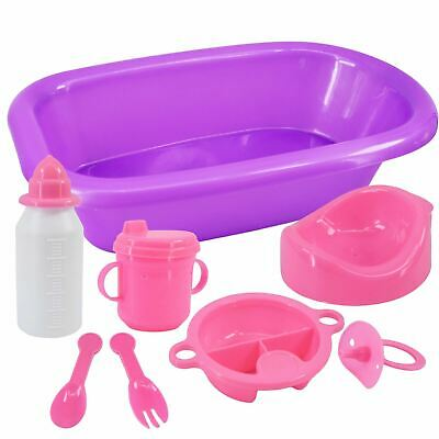Baby Doll Bath Feeding Set Milk Bottle Potty Dummy Spoon Fork Plate Toy