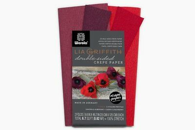 Lia Griffith Extra Fine Crepe Double Sided Paper - 4 colours per pack Sangria, &