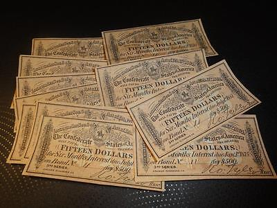 Confederate States of America $15 Bond Coupons From $500 Bond Low # Lot of 3