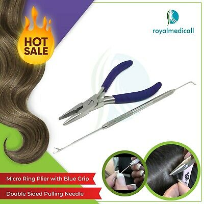 """MICRO RING HAIR EXTENSION PLIERS BLUE GRIP 5"""",HAIR EXTENSION Pulling Needle"""