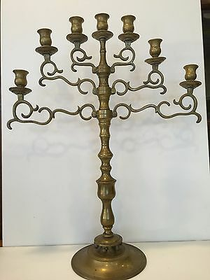 Antique Large Solid Brass Jewish Menorah Candelabra 7 Arm Branch Candle Holder