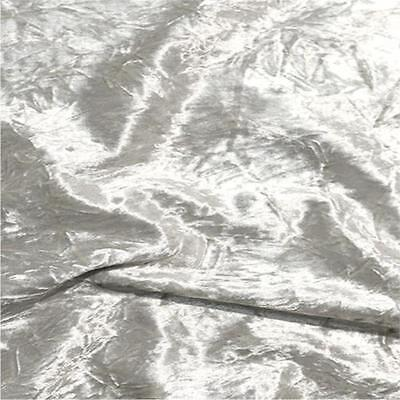 Premium SILVER Crushed Velvet Fabric Material 150cms Wide