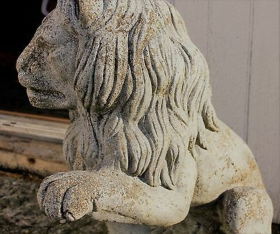 Vintage Pair of Lion Garden Entryway Cement Statues