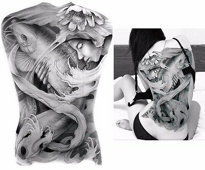 Big Large Full Back Chest Chinese Carp Fish Tattoo Temporary Sticker Body Art
