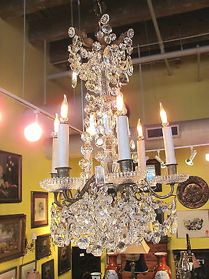 Antique Brass and Crystal Chandelier Circa 1850