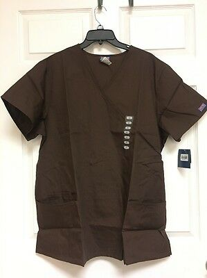 CHEROKEE WORKWEAR, Scrub Top, Women's Size XL, Brown, NWT