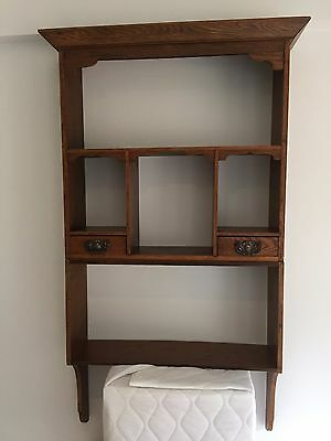Antique Oak Edwardian Wall Cabinet with three shelves and two drawers
