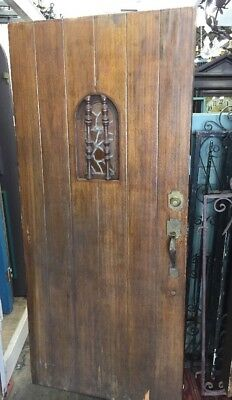 "Front door Spanish Tudor Style Leaded Glass Arch Speakeasy 79 1/2"" x 36"""