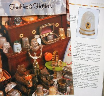 16p History Article + Color Pics -   Antique Sewing Thimbles & Holders
