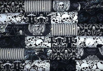 24  Skulls Mixed prints cotton fabric quilting 5 inch squares #28g