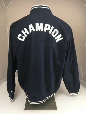 snap on heated jacket. nwt champion spell out windbreaker baseball snap jacket size 2xl navy blue on heated