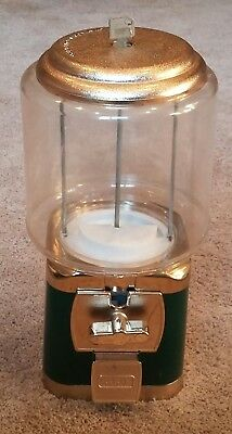 Silent Sales Force Gumball Machine Green & Gold with  Key