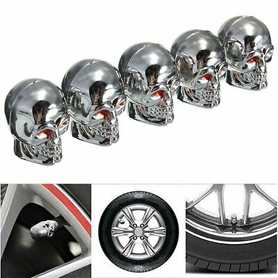 5Pcs Universal Car Auto Skull Wheel Tyre Tire Stem Air Valve Caps Dust Cover Top