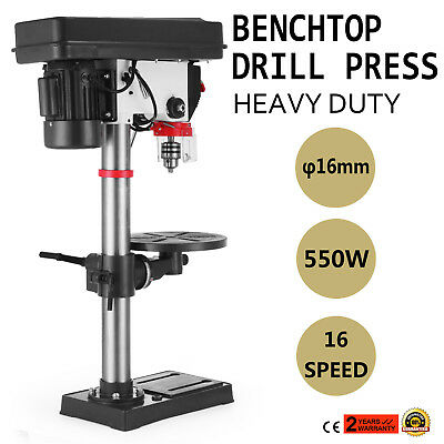 16 Speed Bench-Top Drill 16 mm Drilling Diameter 16A Bench Mount 550W  HOT