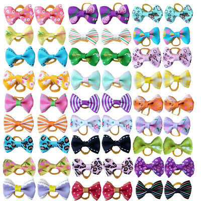 10 Pair Mixed Small Pet Dog Hair Bows w/Rubber Bands Cat Grooming Accessories