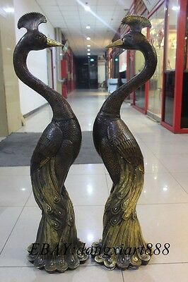 """44"""" Chinese Fengshui Bronze Gilt Peacock Peafowl Fenghuang Bird Juno Pair Statue"""