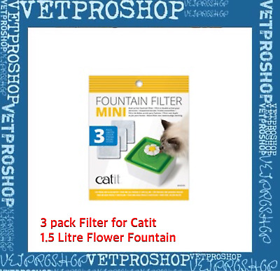 Catit Flower Fountain Mini 3 PACK FILTER PADS CARTRIDGE - Clean Filtered Water