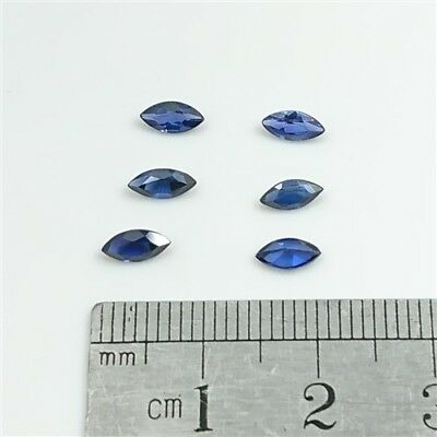 SAPPHIRE BLUE GEMSTONES x6 - 6 x 3mm Marquise cut Syn.Sapphires - Free Post