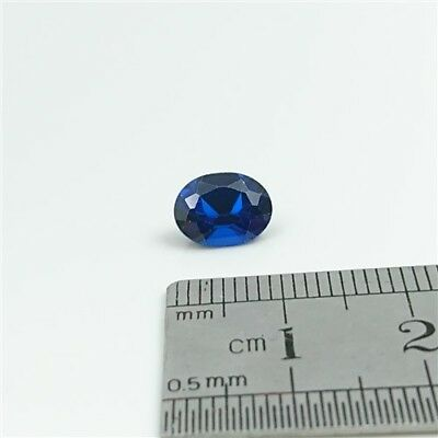 SAPPHIRE BLUE GEMSTONE x1 - 9 x 7mm Oval cut Synthetic Sapphire - Free Post