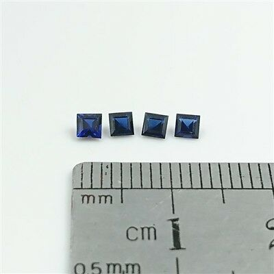 SAPPHIRE BLUE GEMSTONES x4 - 2.5mm Square Carre cut Synthetic Sapphire Free Post