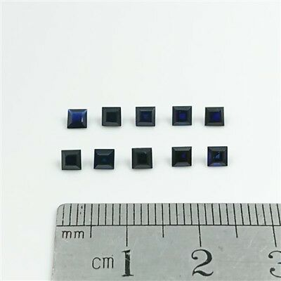 SAPPHIRE BLUE GEMSTONES x10 - 3mm Square Carre cut Synthetic Sapphire Free Post