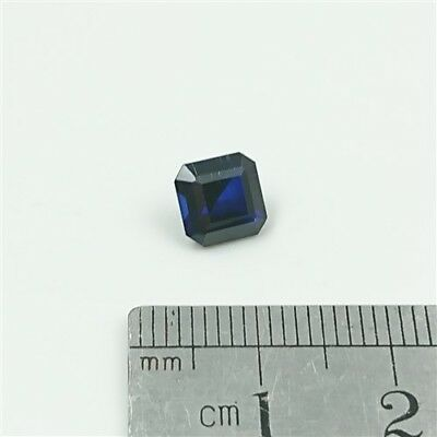 SAPPHIRE BLUE GEMSTONE x1 - 7mm Square Emerald cut Synthetic Sapphire Free Post