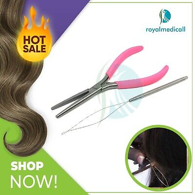 Hair Extension tools Flat Mouth Long Nose Pliers Pink Grip and Loop Needle