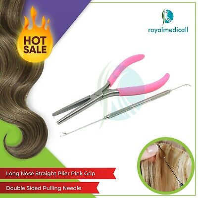 Hair Extension tools Flat Mouth Long Nose Pliers Pink Grip and Pulling Needle