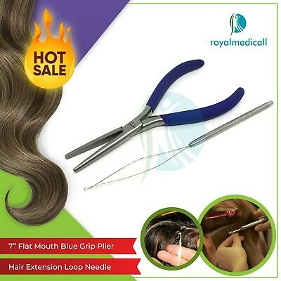 Hair Extension tools Flat Mouth Long Nose Pliers Blue Grip and Loop Needle