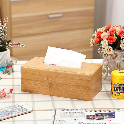 Bamboo Wood Tissue Paper Box Cover Case Holder Storage Home Office Vintage