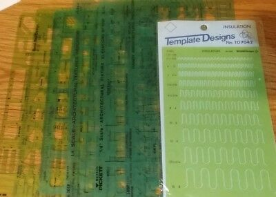 7 templates Pickett Berol architectural fixture insulation indicator lavatory