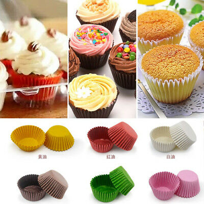 Cupcake Baking Plain Greaseproof Paper Muffin Bun Cases Cake Decorating 5 Colors