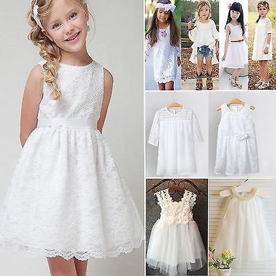 Flower Girl Dress Childr Lace Tutu Wedding Bridesmaids Party Gown Sundress White