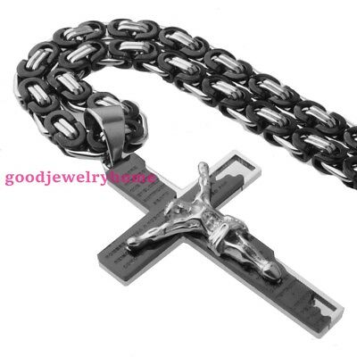 Fashion 316L Stainless Steel Bible Cross Pendant With Byzantine Chain Necklace