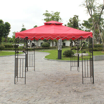 10ft Gazebo Replacement Canopy Top Cover Patio Garden Fabric Tent Sunshade 2Tier