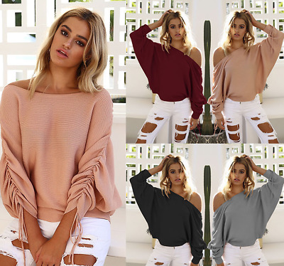 UK Womens Off Shoulder Baggy Lady Long Sleeve Tops Casual Knitted Sweater Jumper