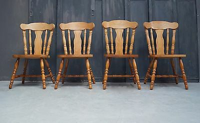 4 Vintage Farmhouse Dining Chairs Heavy and Solid - We Can Deliver