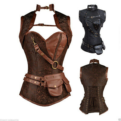 Steampunk Boned Corset Brown Leather Gothic Halloween Top with Jacket