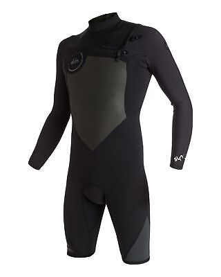 NEW QUIKSILVER™  Mens Syncro 2/2MM GBS Long Sleeve Chest Zip Springsuit Wetsuit