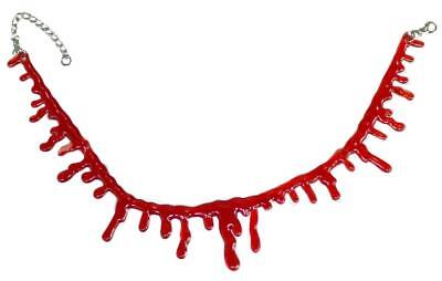 Slit Throat Bloody Blood Drip Necklace Choker Horror Costume Makeup Appliance
